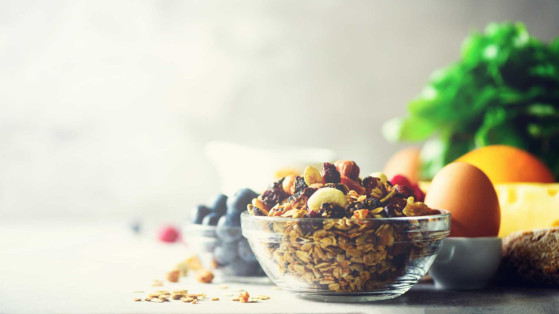 Organic ingredients for healthy lunch - berries, milk, egg, oatmeal on grey concrete background