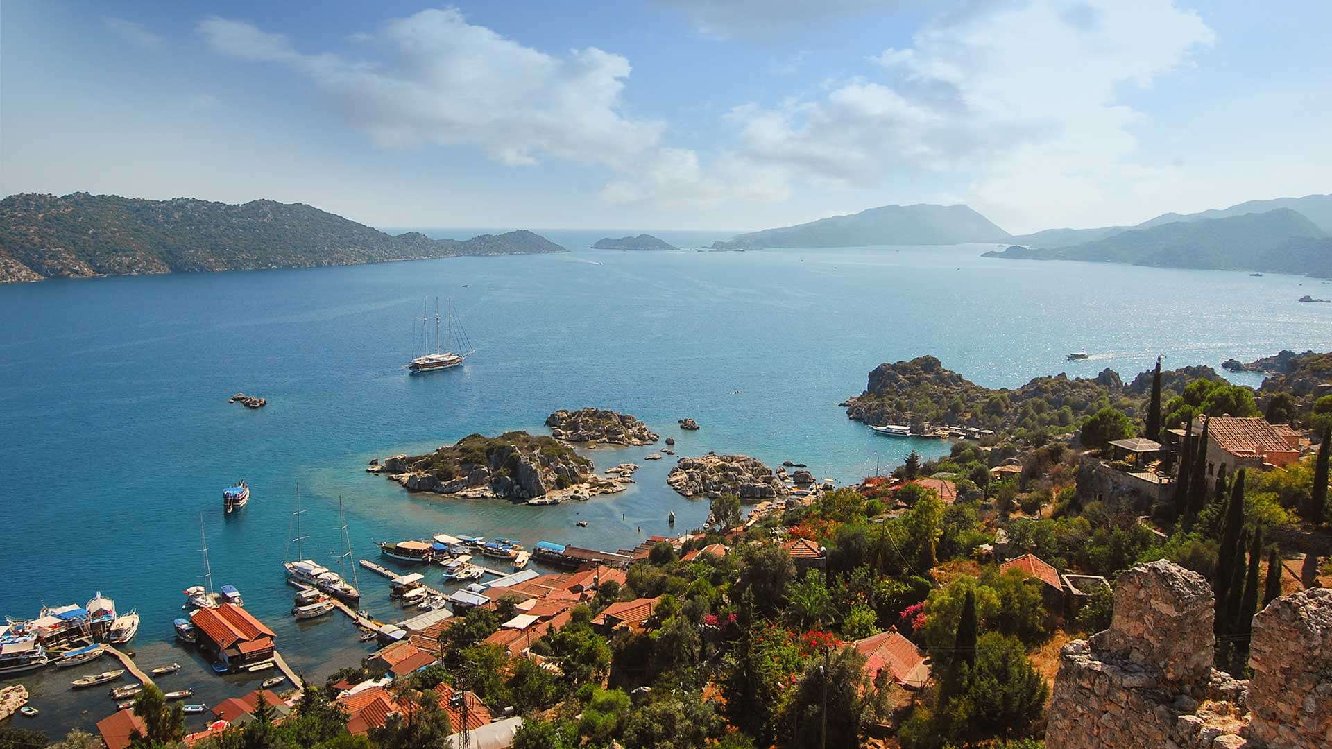 Panoramic view from the top of the castle in Kekova, Kalekoy, Turkey