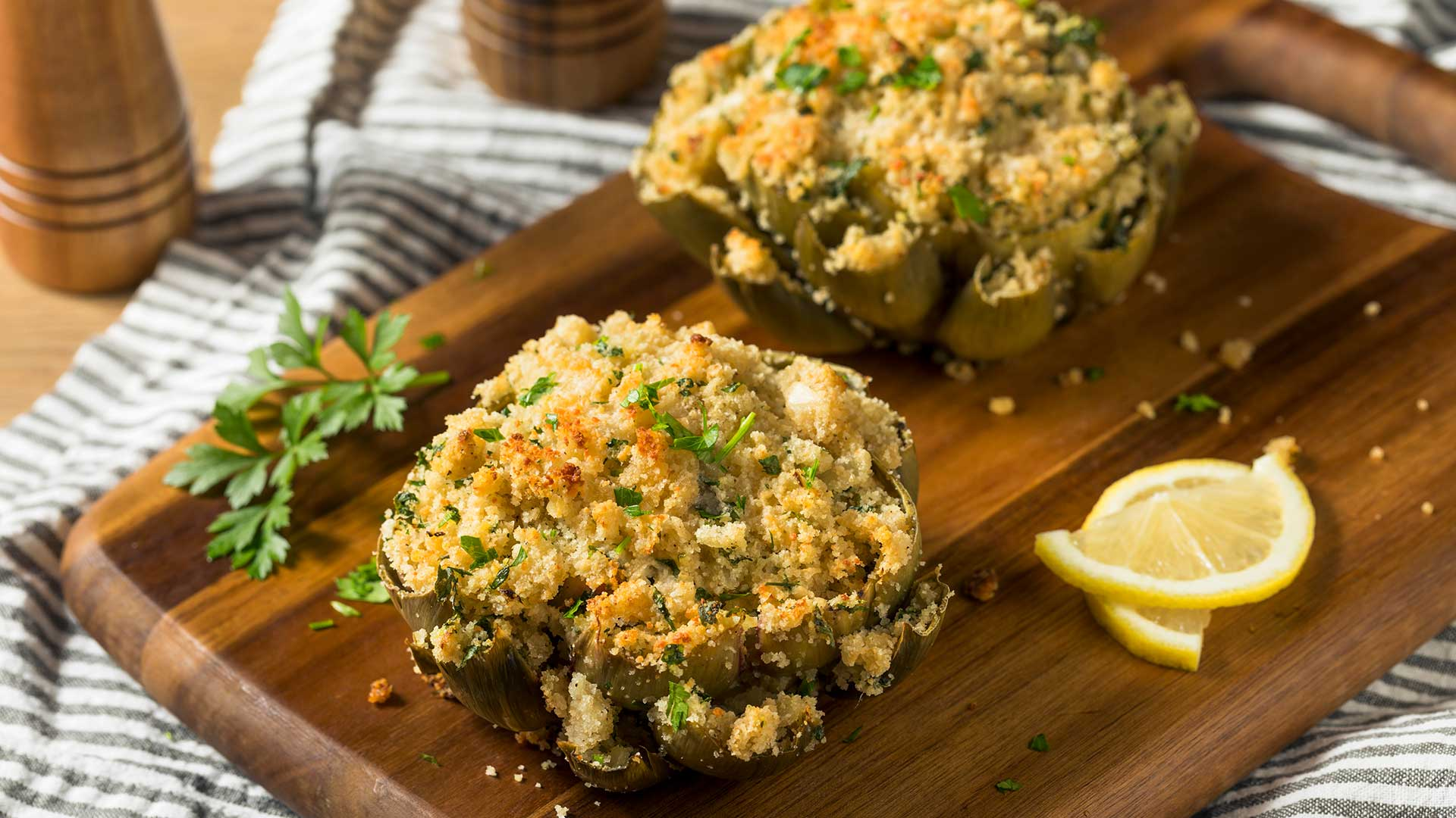 Homemade Stuffed Baked Artichokes Ready to Eat