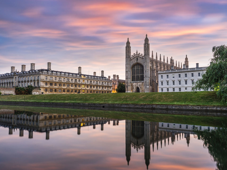 King's Chapel in Cambridge at sunrise
