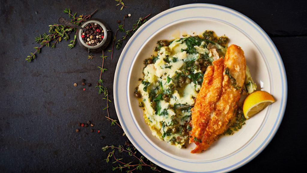 fish with spinach mash