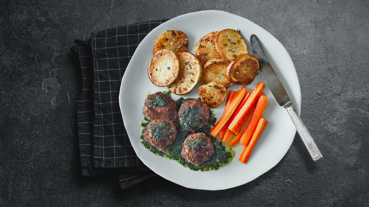 Rosemary Lamb Meatballs & Mint Sauce